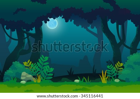 night in forest  vector art and