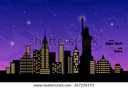 night in new york  statue of
