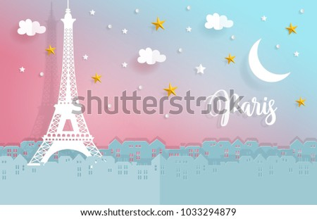 night in paris with city and