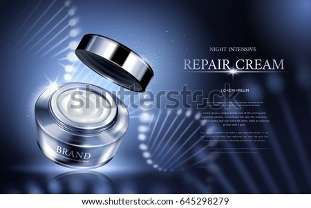 night intensive repair cream contained in silver cosmetic jar with helical structure, 3d illustration  Сток-фото ©