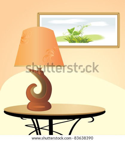 Night lamp and picture. Fragment of interior. Vector