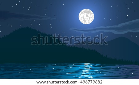 night landscape beach by the