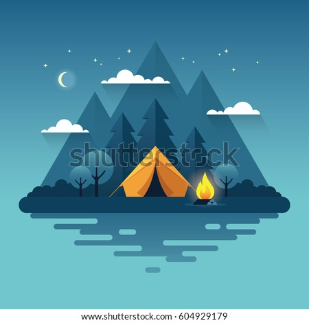 night landscape illustration in
