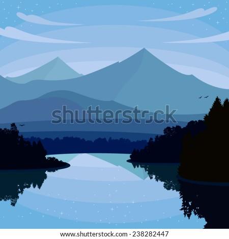 night landscape lake