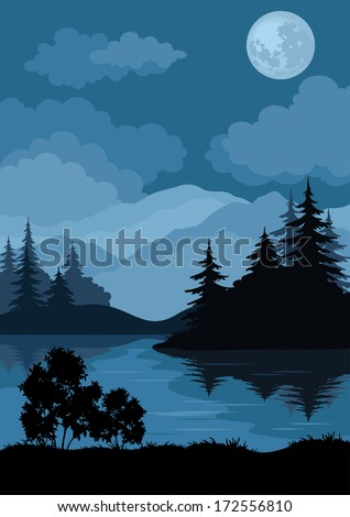 night landscape  mountains lake
