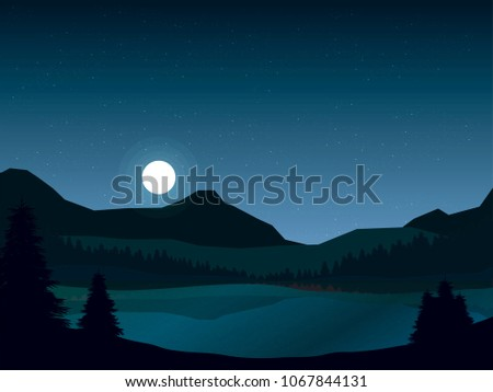 Night landscape of mountains and lake with pine forest. vector nature illustration