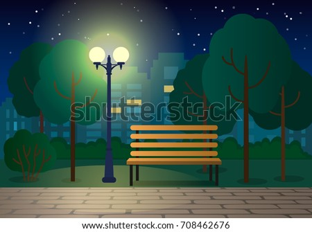 night landscape with a bench in