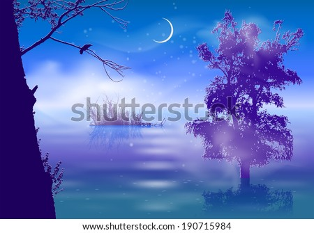 night landscape with fog and