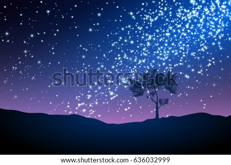 night landscape with lonely