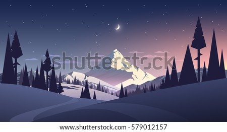 night landscape with mountain
