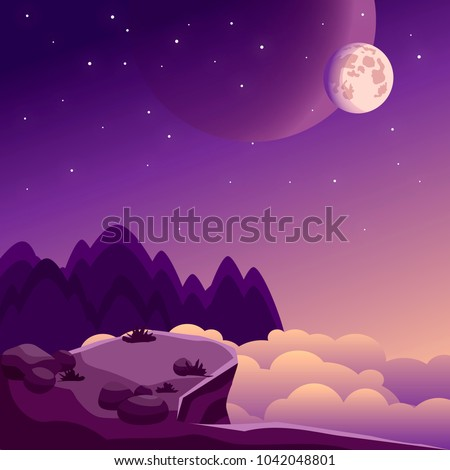 night landscape with rock