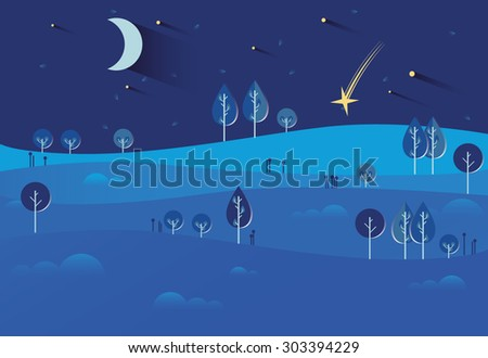 night landscape with stars and