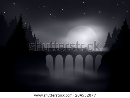 night landscape with train on