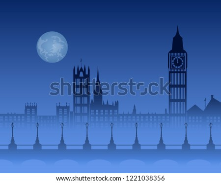 Stock Photo night London skyline, Thames in fog, bridge with lanterns, Big Ben and  big moon on dark blue background