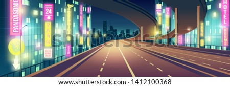 Night metropolis empty, four-lane highway, freeway road illuminated with restaurants, hotel, road and karaoke bar neon colors signboards cartoon vector background. Modern city nightlife background