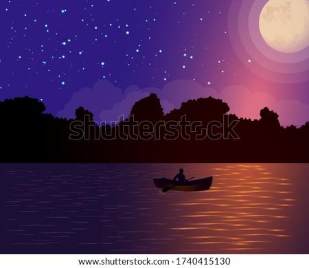 night moonlit landscape  and