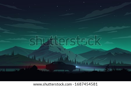 night mountains landscape with