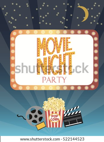 Night Movie party invitation card, birthday party invitation or poster. Vector illustration