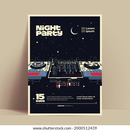 night music party flyer or