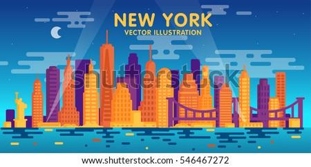 Night New York city skyline, vector illustration, flat design
