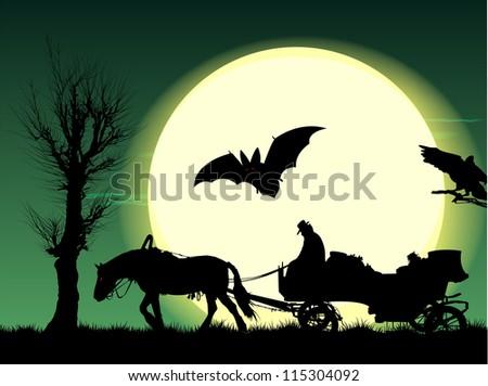 night of halloween  silhouette