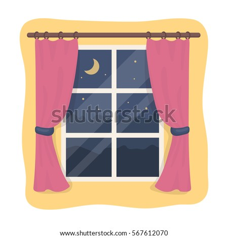 Night out the window icon in cartoon style isolated on white background. Sleep and rest symbol stock vector illustration.
