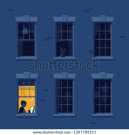 Night owl person flat vector illustration. Man working at home during the night while rest of neighbours are asleep. Night blackout windows with lonely lit up window in the corner. Workaholic concept