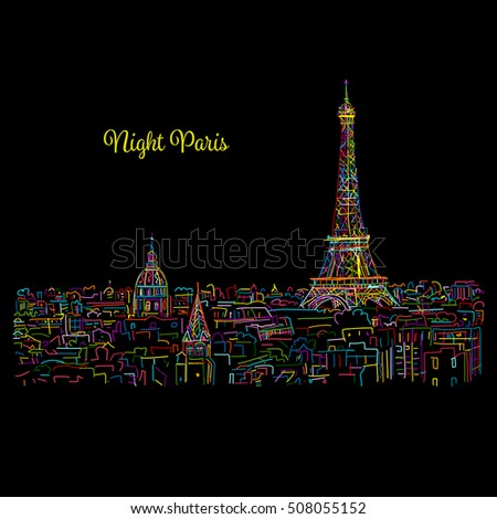 night paris cityscape with