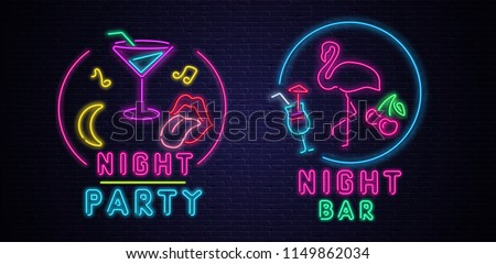 Night party and night bar. Textured background or signboard with colorful neon decoration on black realistic bricklaying wall. Design for club, disco. Vector illustration.