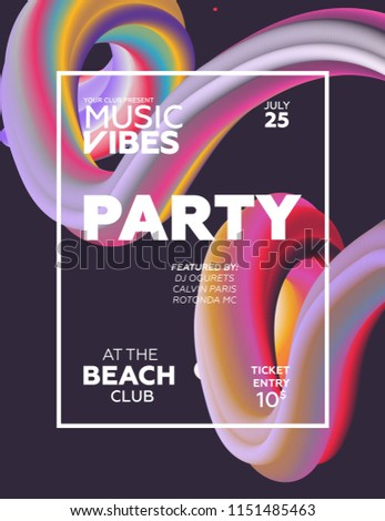 Night Party banner template for art event promotion. Astract flow fiber effect background. Ladies night, karaoke party, deep trance music. Abstract background.