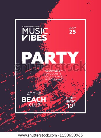 Night Party banner template for art event promotion. Brush fiber effect background. Ladies night, karaoke party, deep trance music. Summer party.