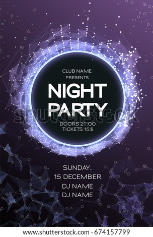 Night Party Dance Poster Background. Event celebration flyer. Futuristic technology style. Big data. abstract design with plexus. Disco Vector illustration. Used for banner, card, poster