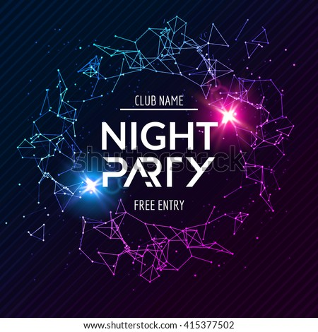 Night Party neon poster. Shiny banner club disco. Dj fun dance summer music invitation flyer