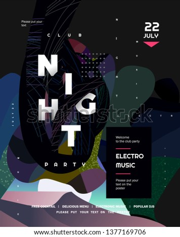 Night party. Vector gradient abstract background for poster, flyer or cover. Psychedelic illustration for clubs, DJ, electronic techno music, festival, etc