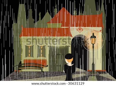 Night. Rain. Street. Lamp.