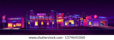 night roadside motel with