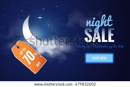 Night sale dark banner. Sale poster with moon, clouds and price tag. Vector illustration. Foto stock ©