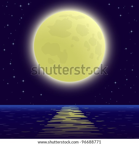 Night sea landscape background, star sky and big bright moon. Vector