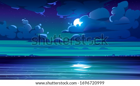 Night sea landscape with moon, stars and clouds in dark sky. Vector cartoon illustration of midnight scene with ocean, with coastline silhouette on horizon and moonlight reflection in water