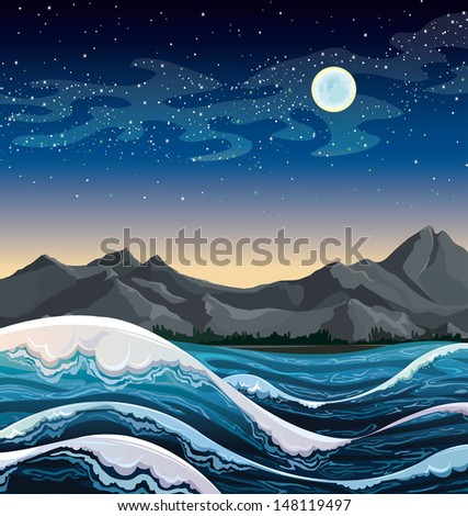 Night sea with waves and mountains on a starry sky with full moon.