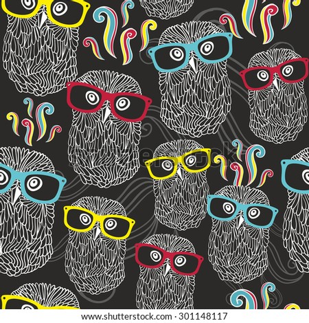 night seamless pattern with