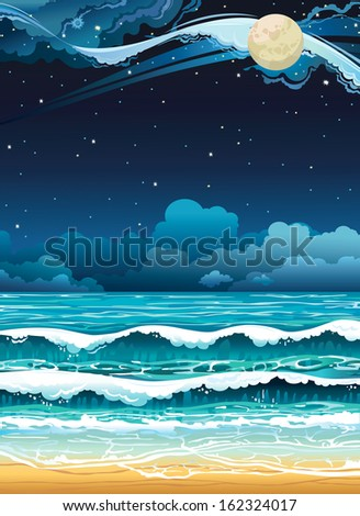 night seascape with full moon