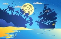 Night seascape with pirate ship 2 - vector illustration.