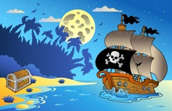 Night seascape with pirate ship 1 - vector illustration.