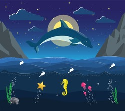 Night seascape with the underwater world in the ocean. Dolphin jumps out of the water on the background of moon and stars. Jellyfish starfish swim under water. Used for children illustration