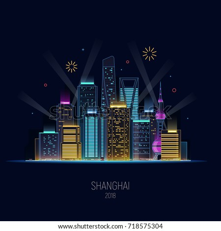 night shanghai in neon shine