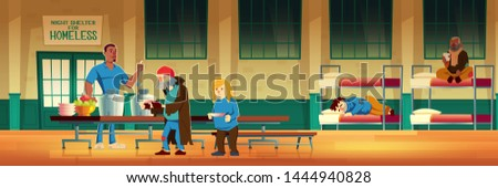 Night shelter for homeless, emergency housing, temporary residence for people, bums and beggars without home. Poor men and woman lying on bed, eating and drinking warm food Cartoon vector illustration
