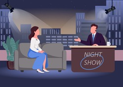Night show flat color vector illustration. Chat show host and famous guest 2D cartoon characters with studio on background. Evening talk show. Live communication, interview with celebrity