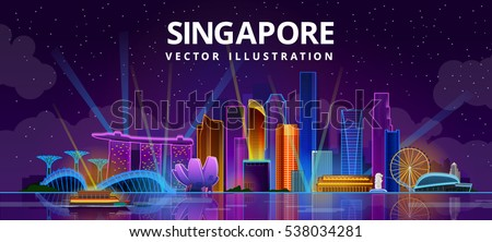 night singapore city skyline