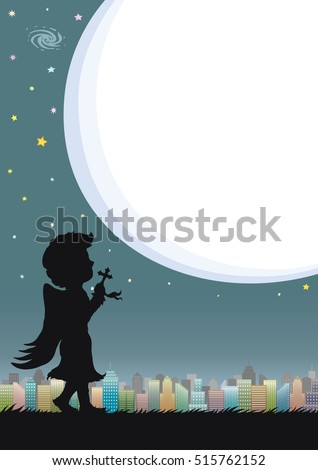 night sky and city with speech